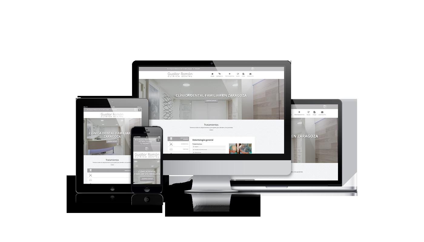 Desarrollo web integral de web corporativa para clínica dental y creación de imagen corporativa.