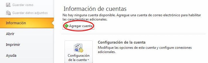 Configurar cuenta correo en Outlook