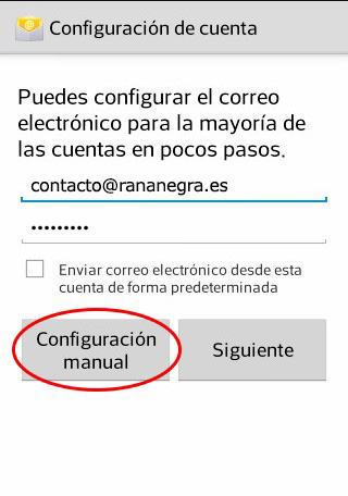 Configuración manual de correo en Android