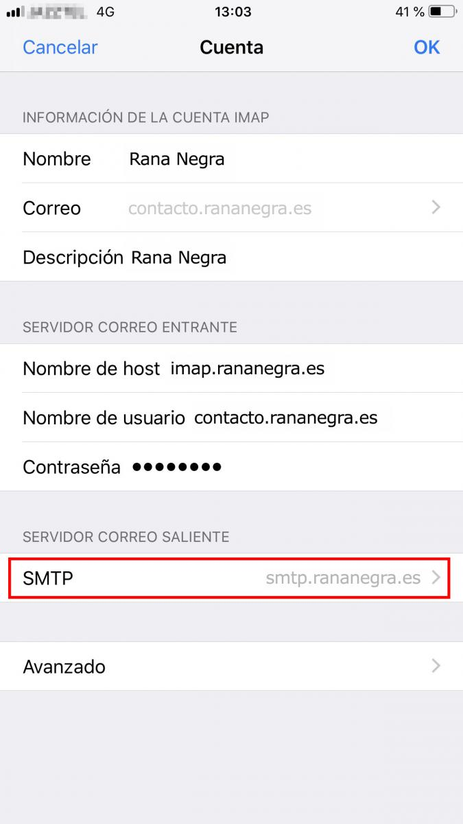 Configurar SMPT en Iphone