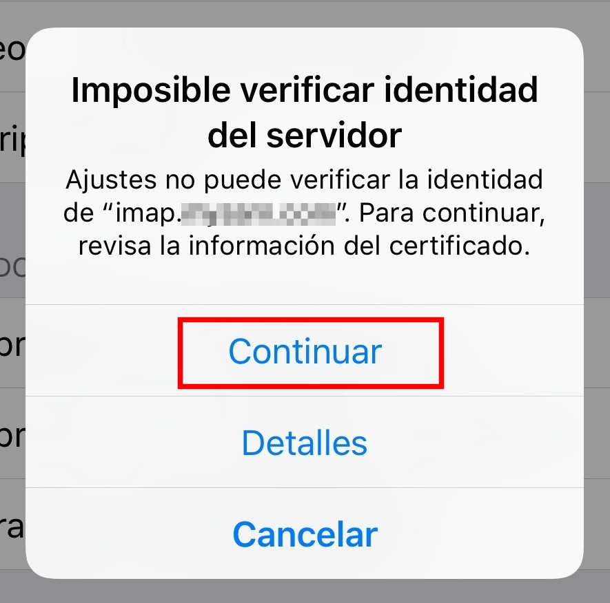 Configurar servidores email en Iphone