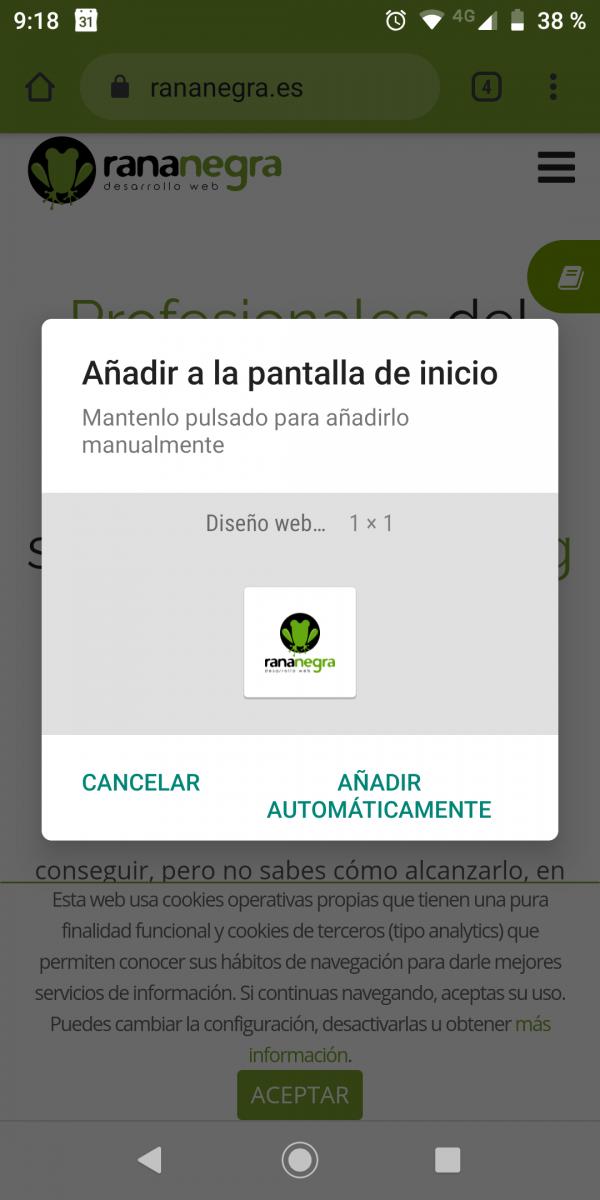 Añadir pantalla inicio Chrome simular app