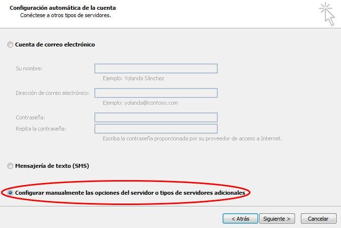 Configuración manual cuenta correo Outlook