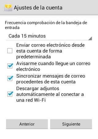 Ajuste de cuenta de correo en Android