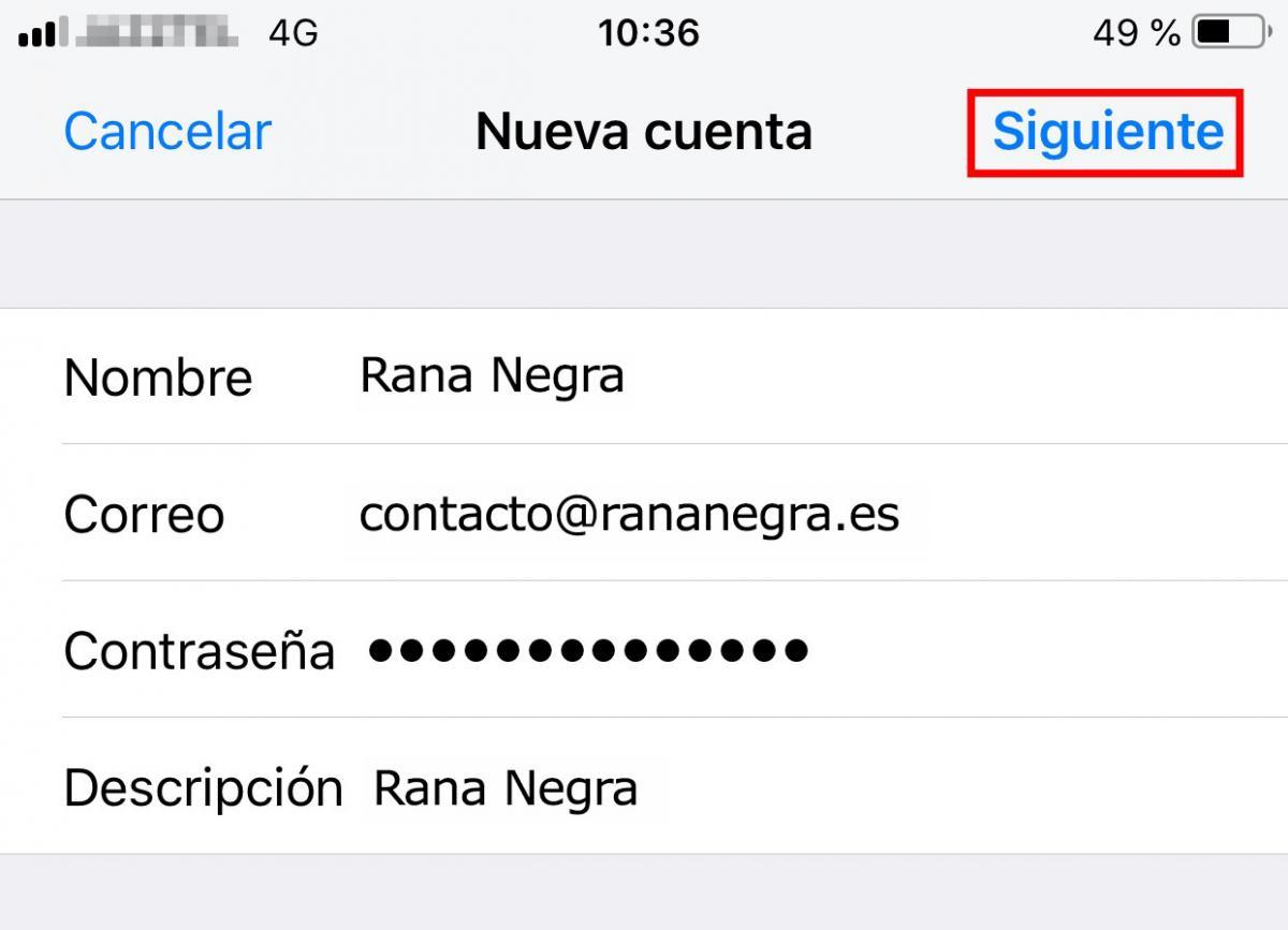 Cómo crear cuenta email en Iphone