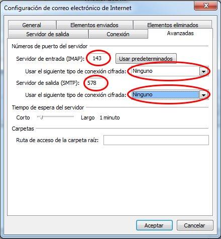Configurar puertos correo Outlook