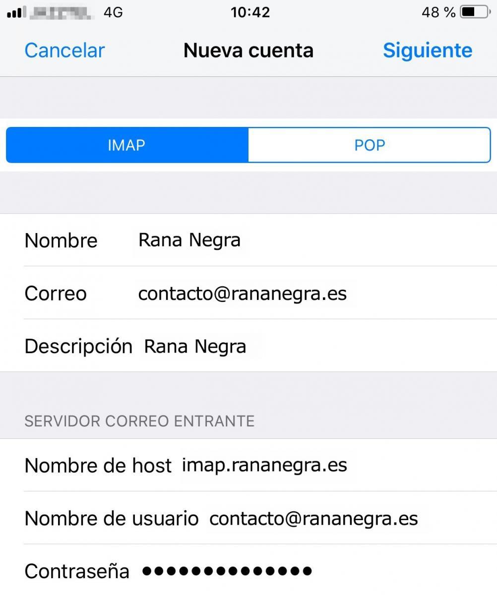 Configurar servidores correo en Iphone
