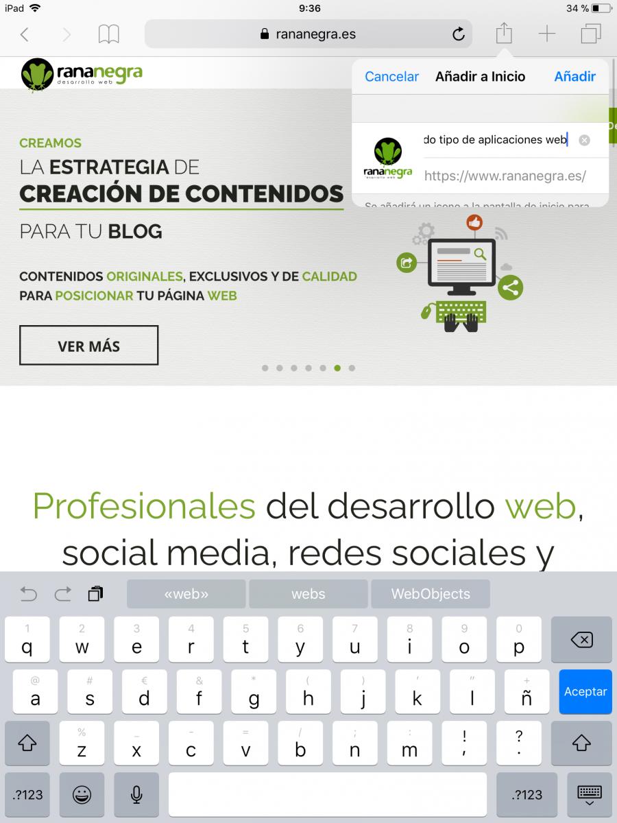 IOS: Añadir pantalla inicio simular app Safari