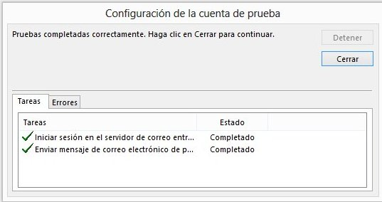 Finalziar configuración correo Outlook