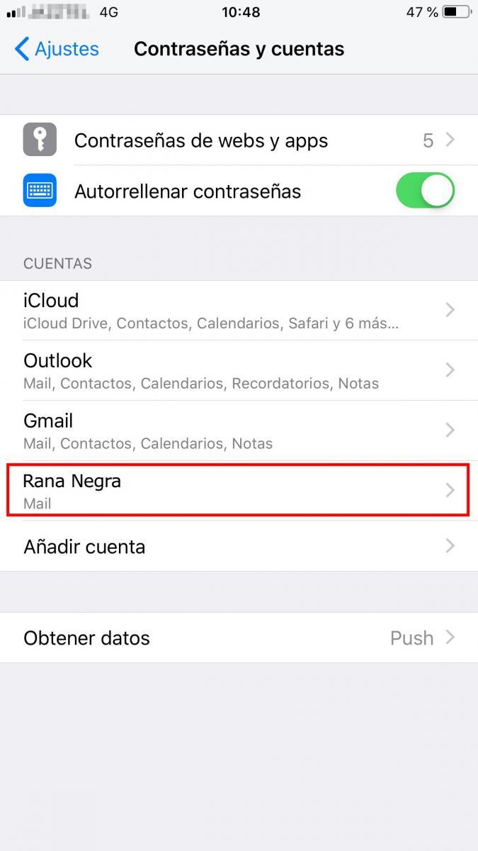 Configuración cuenta de correo Rana Negra en Iphone