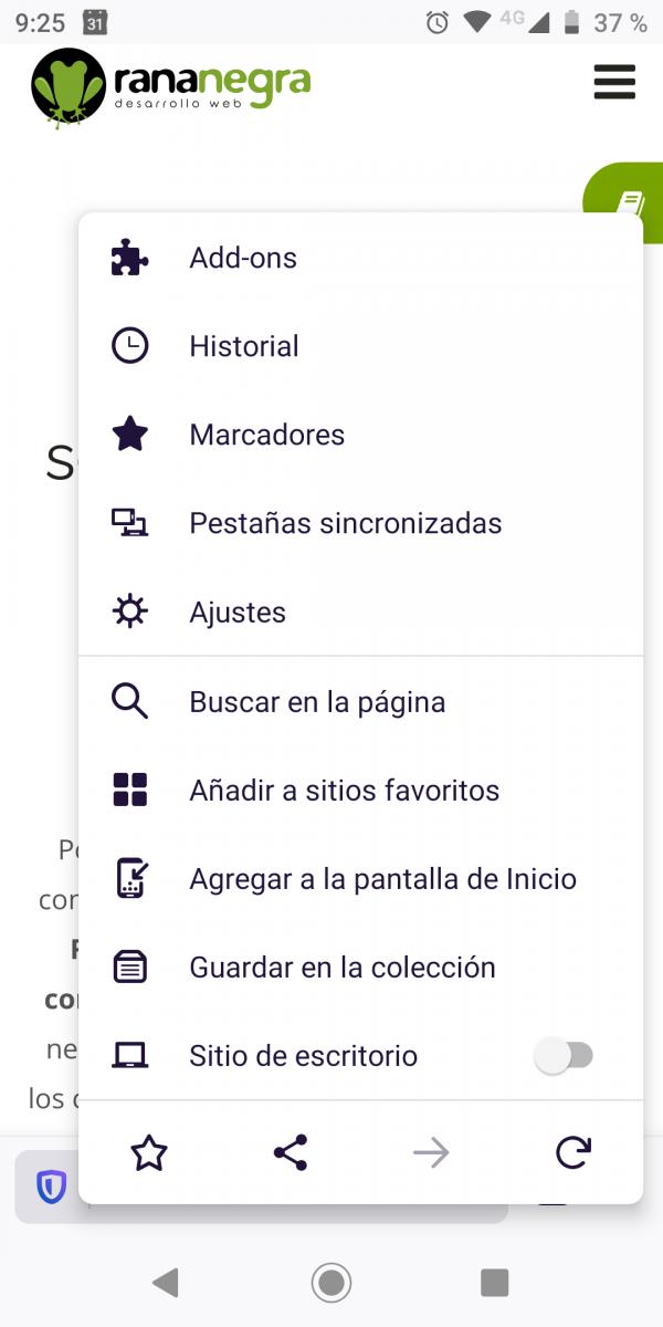 Firefox: Añadir pantalla inicio Chrome simular app