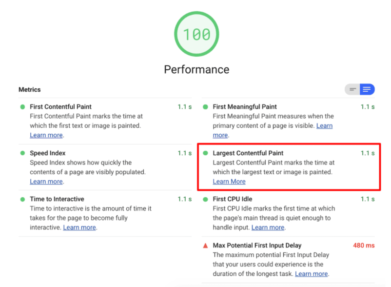 PageSpeed Insights LCP