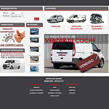 Desarrollo página Web Vehículos Marco